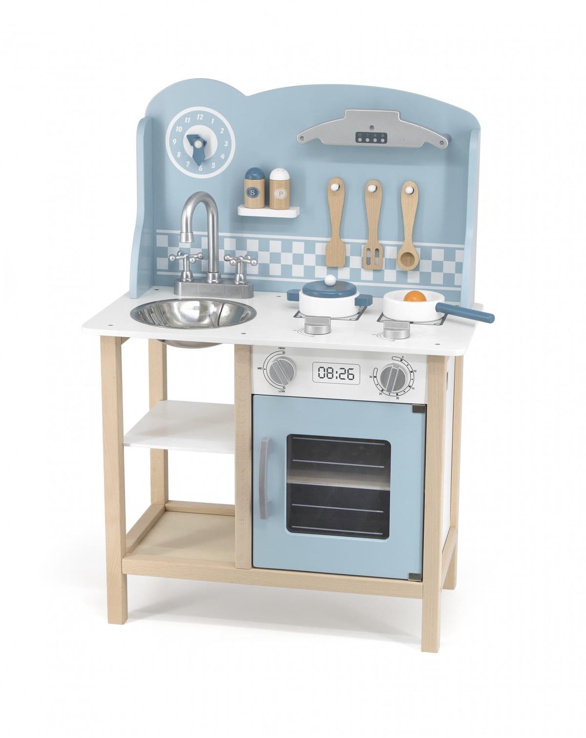 Kuchnia Dla Dzieci Drewniana Z Akcesoriami Silver Blue Viga Polarb Q1 Burattino